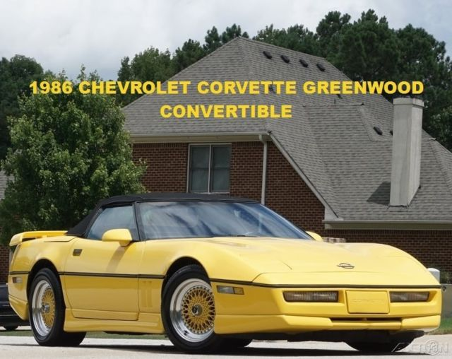 1986 Chevrolet Corvette Indianapolis 500 Pace Car GREENWOOD Convertible