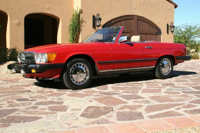 1986 Red Mercedes-Benz SL-Class R107 Convertible with Tan interior
