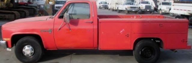 1986 RED CHEVROLET CUSTOM C20 UTILITY TRUCK V8 5 7L 350 CID