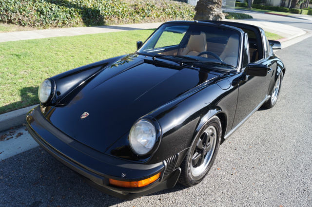 1986 Porsche 911 TARGA IN STRIKING BLACK OVER TAN LEATHER!