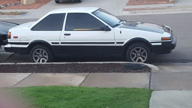 1986 BLACK AND WHITE Toyota Corolla Coupe with Black interior
