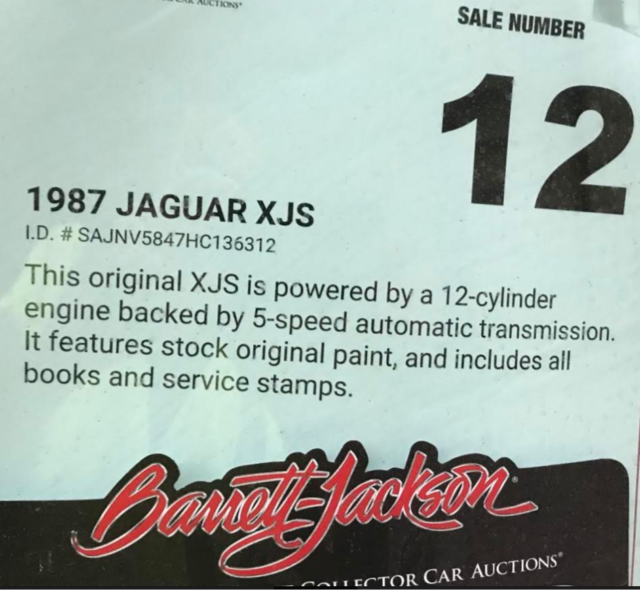 1987 Jaguar XJS V12 One Owner , Barrett Jackson Car