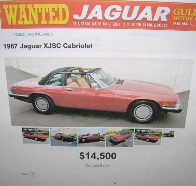 Price Of Jaguar Convertible: 1987 Jaguar XJSC Cabriolet Convertible V-12 Ebay Motors