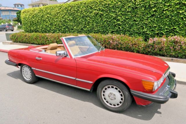 1987 Mercedes Benz 560SL Signal Red Tan Nicest Available! All Orig on neutral safety switch replacement, oil pan gasket replacement, fuel pump replacement, pitman arm replacement, brake light switch replacement, map light bulb replacement, turn signal switch replacement, third brake light replacement, power window motor replacement, timing chain replacement, camshaft position sensor replacement, fuel injector replacement, hood release cable replacement, timing belt tensioner replacement, windshield wiper arm replacement, cigarette lighter socket replacement, catalytic converter replacement,