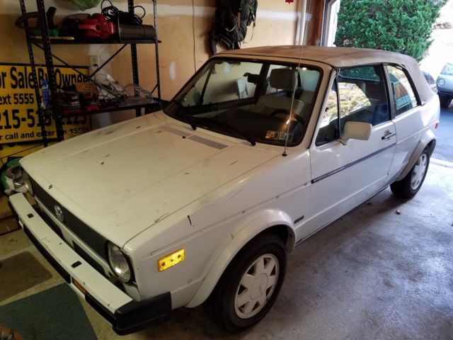 1987 Vw Cabriolet Convertible White Body Top Garage Kept For 30 Years