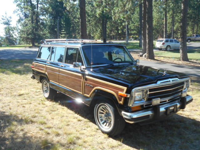 1988 jeep wagoneer grand wagoneer 4x4 classic black with cordovan. Cars Review. Best American Auto & Cars Review