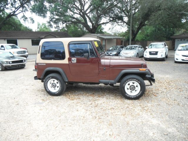 1988 Burgundy Jeep Wrangler SUV SUV with Tan interior