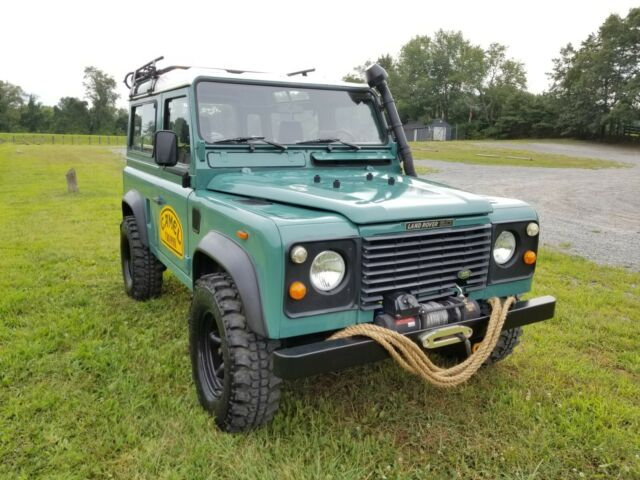 1988 Green Land Rover Defender Left Hand Drive Station Wagon SUV with GrayOff interior