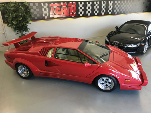 1989 Red Lamborghini Countach Coupe with Tan interior