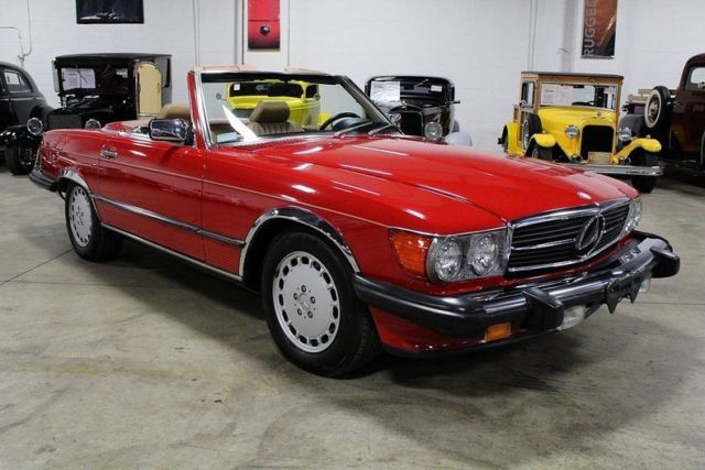1989 Red Mercedes-Benz SL-Class Convertible with Tan interior