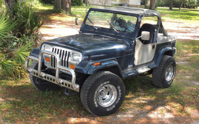 1990 Blue Jeep Wrangler Laredo 4 2l Engine 5 Speed