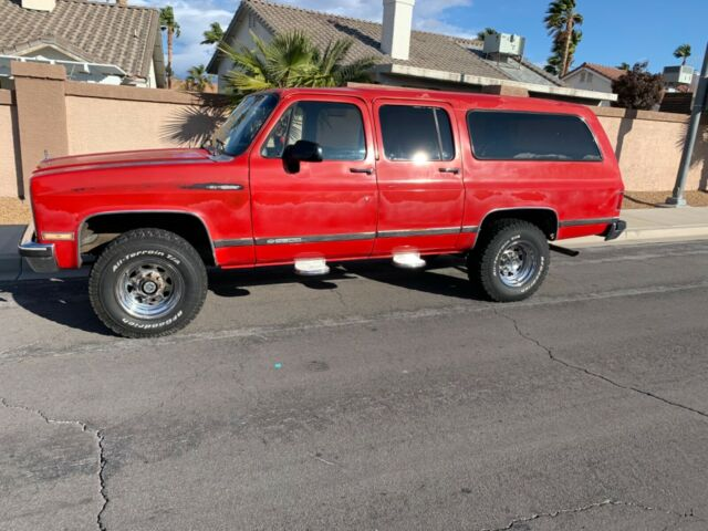 1990 Red Chevrolet Suburban with Tan interior
