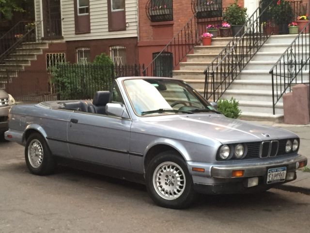 1990 E30 BMW 3 Series convertible in glacier blue for sale photos