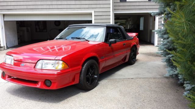 1990 ford mustang gt convertible 2 door 5 0 red black collector grade for sale photos. Black Bedroom Furniture Sets. Home Design Ideas