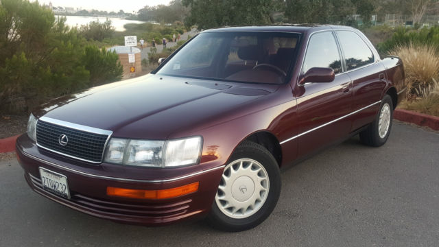 1990 Lexus LS400 4-Door V8 Burgundy Exterior & RARE CLOTH ...