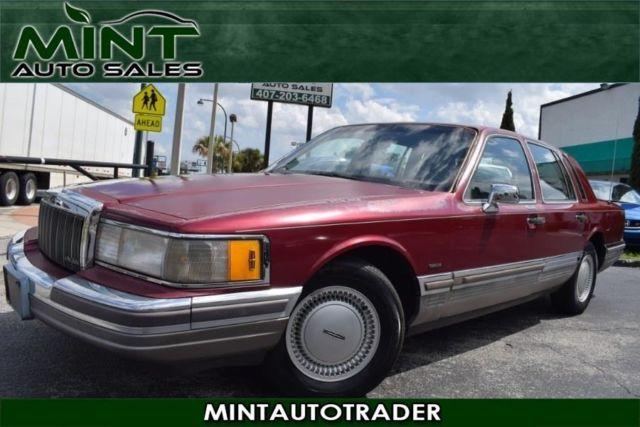 1990 Lincoln Town Car 4dr Sedan Signature 136188 Miles Red 4 Door