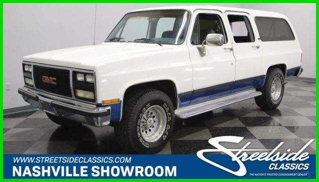 1990 White GMC Suburban 4 Dr with Blue interior