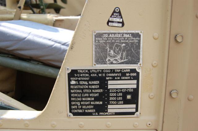 Used Cars Columbus Ohio >> 1991 AM General M998 Military Humvee HMMWV Hummer HAS ...