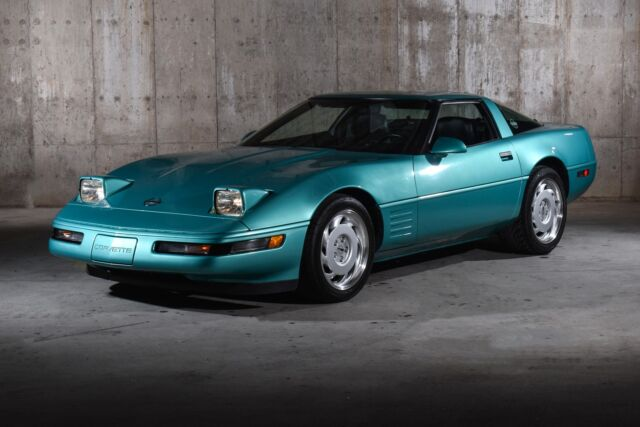 1991 Turquoise Chevrolet Corvette Hatchback with Black interior