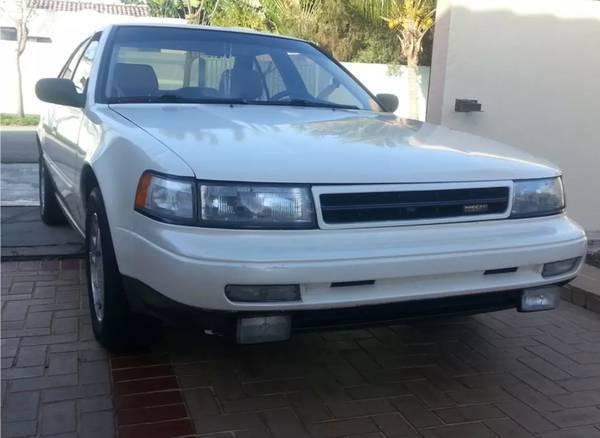 1991 Nissan Maxima Se Sedan Pearl White  Tan Leather Great