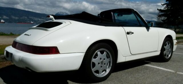 1991 White Porsche 911 Carrera 2 Convertible with Blue interior