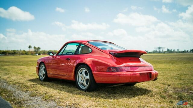 1991 Red Porsche 911 Carrera 2 Coupe with Tan interior