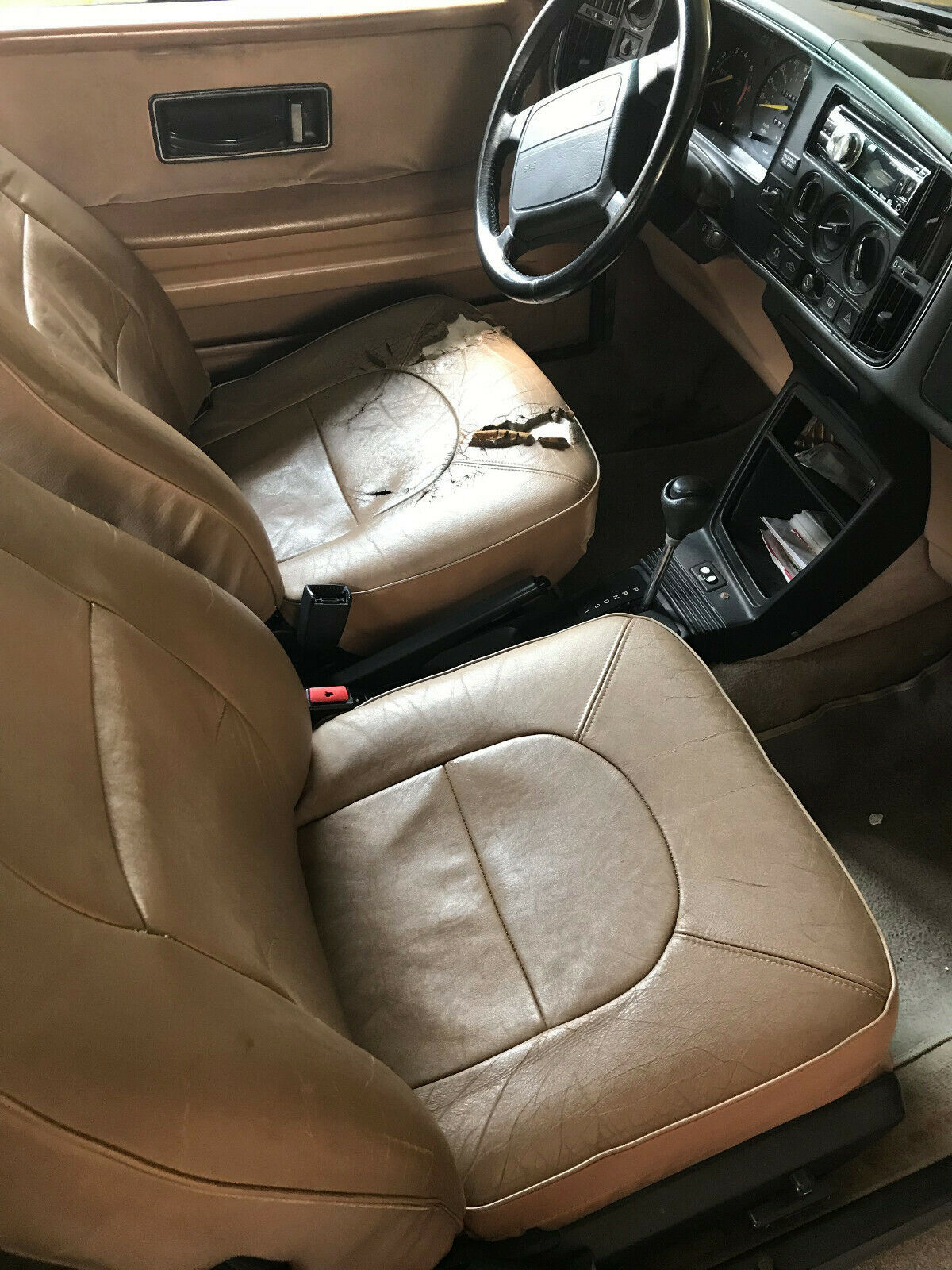 1991 Black Saab 900 Convertible with Tan interior