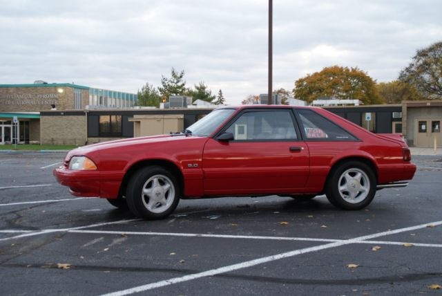 1992 Red Ford Mustang with Gray interior