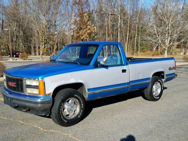 1992 gmc sierra k1500 sle 4x4 regular cab long bed 5 7l v8 low miles no reserve for sale photos technical specifications description topclassiccarsforsale com