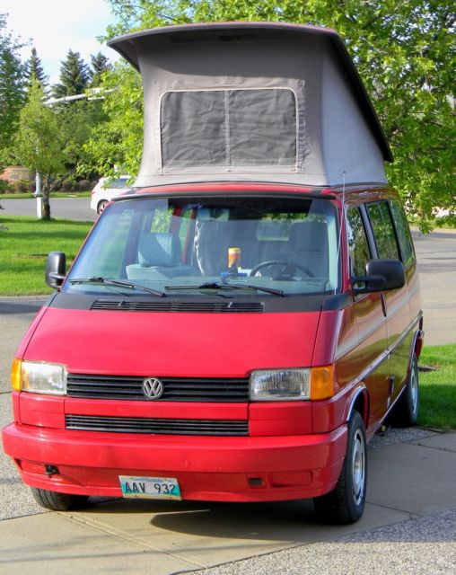 1992 Red Volkswagen EuroVan CV Van Camper with Gray interior