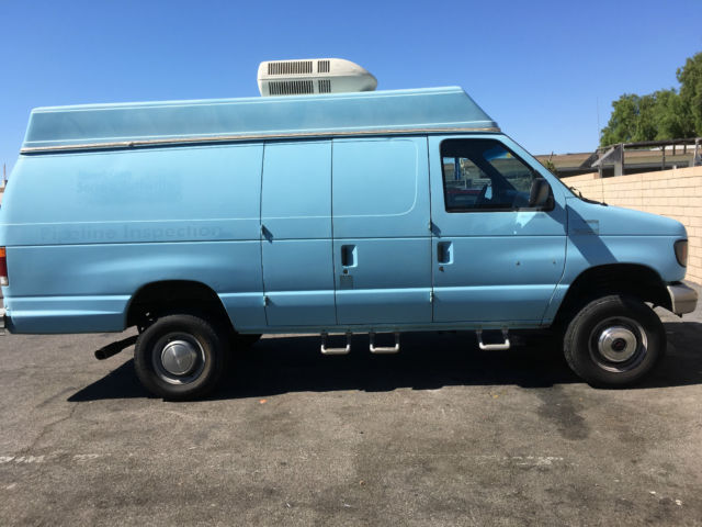1993 Ford Econoline High Top 4x4 7 5l V8 Cargo Van 2 Door 4wd Auto Leather Blue