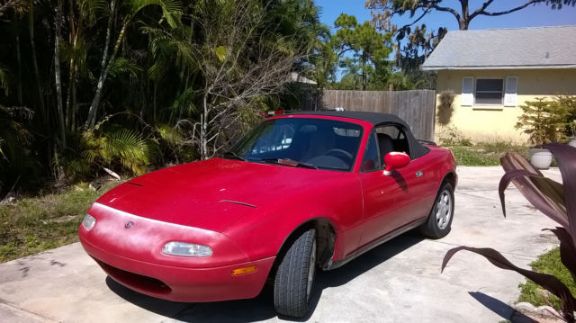 1993 red mazda miata coupe convertible for sale photos technical specifications description. Black Bedroom Furniture Sets. Home Design Ideas