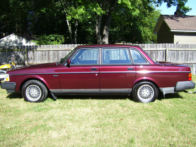 1993 Burgundy Volvo 240 Classic Edition Sedan with Dark Charcoal Grey interior