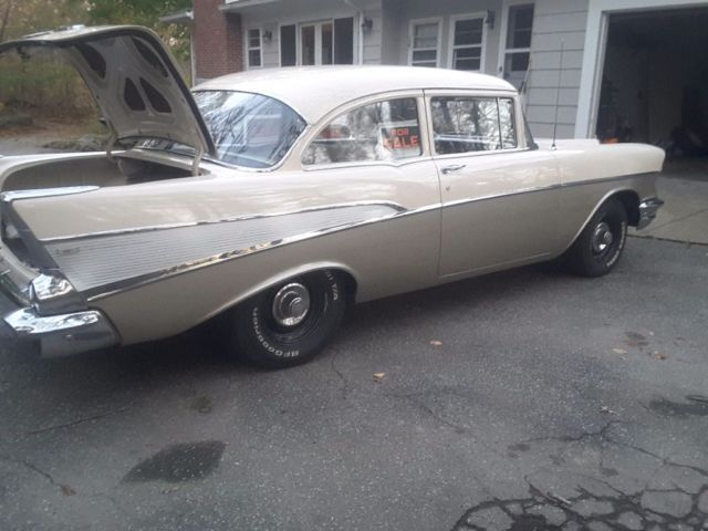 1957 Beige/Silver Chevrolet Bel Air/150/210 Sedan with Ivory / charcoal interior