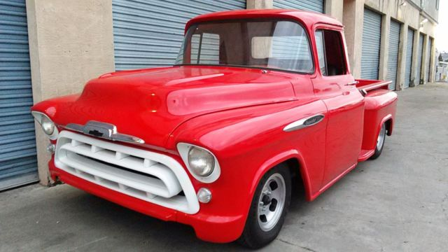 57 CHEVY TRUCK, V8 AUTO, ORIGINAL RED, POWER STEERING ...