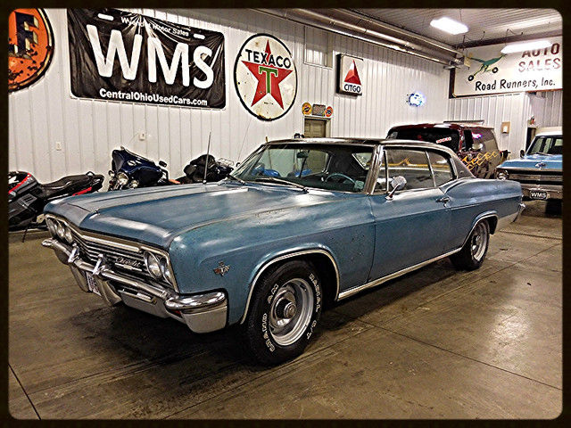 66 blue chevy classic car 2 door coupe muscle show 327 v8 wms chrome