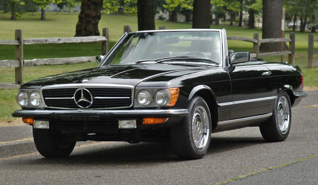 39 80 euro spec mercedes 280sl triple black r107 2 owners no reserve auction for sale. Black Bedroom Furniture Sets. Home Design Ideas