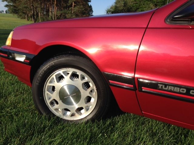 88 Ford Thunderbird 23Liter Turbo Coupe Red Car Detailed One
