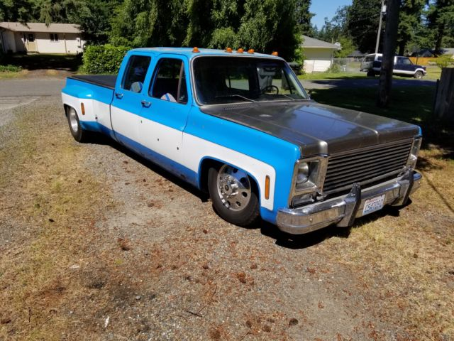 Air Bagged 1973 Chevy Dually Crew Cab Truck Square Body Slammed C 10 Shop Truck For Sale Photos