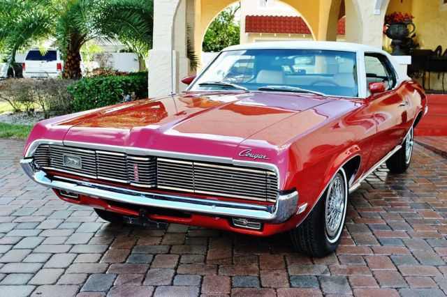 1969 Mercury Cougar Rare Options Beautiful Red w/ White Top