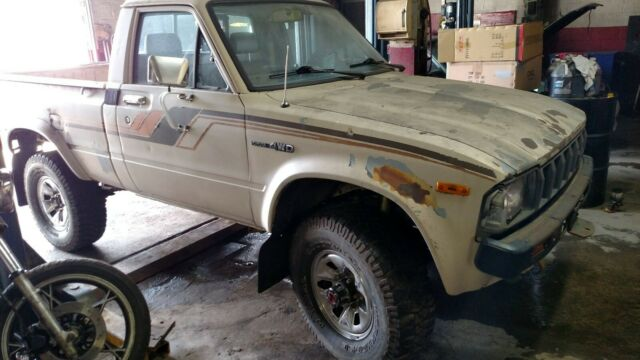 1982 Tan Toyota Pickup SR5 with Tan and brown interior