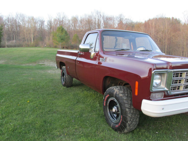 amazingly original 1977 chevy k10 4x4 pickup truck 73 87 square body 4 speed 442 for sale. Black Bedroom Furniture Sets. Home Design Ideas