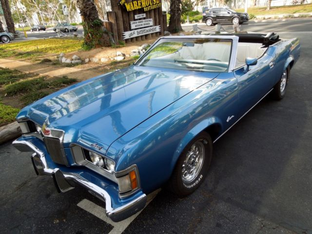 1973 Blue Mercury Cougar Convertible with White interior