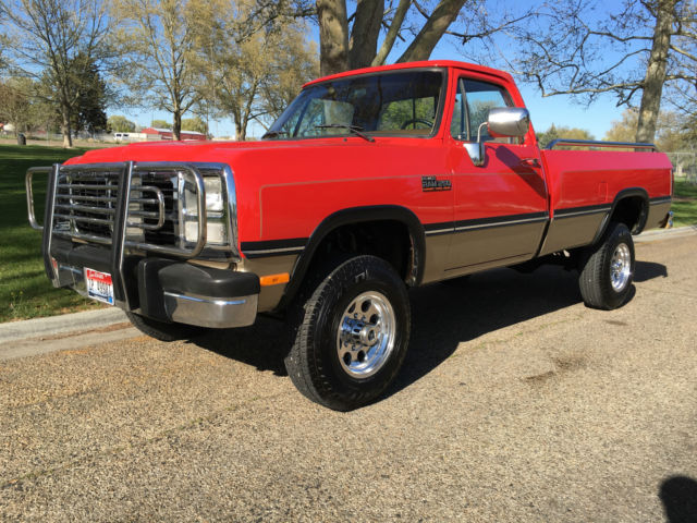 beautiful red 1993 dodge ram 250 4x4 5 speed 5 9l 1st gen cummins diesel for sale photos. Black Bedroom Furniture Sets. Home Design Ideas
