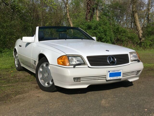 1993 White and Gray Mercedes-Benz SL-Class Convertible with Blue interior