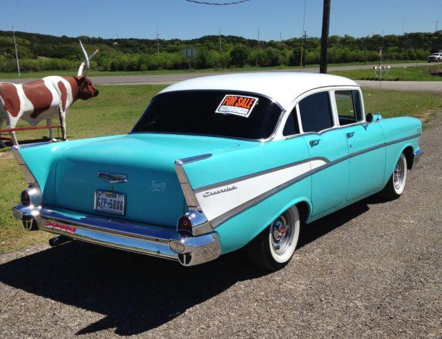 Beautiful turquoise and white 1957 chevrolet 210 4 door for 1955 chevrolet 210 4 door sedan
