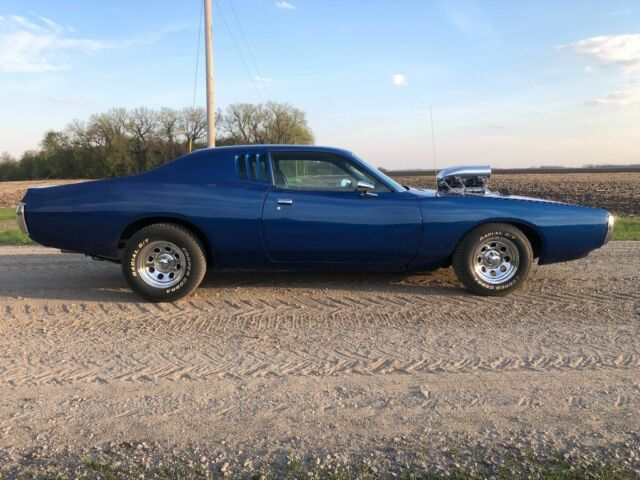 1973 Blue Dodge Charger Coupe with Black interior