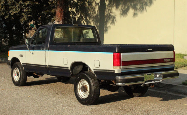 1989 Blue/Gray Ford F-250 4x4, Lariat, Two Owner, 75k Orig Miles Cab & Chassis with Gray interior