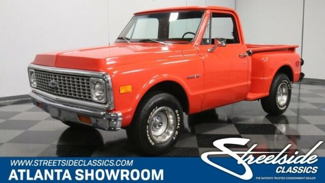 1972 Red Chevrolet C-10 Stepside Pickup Truck with Black interior