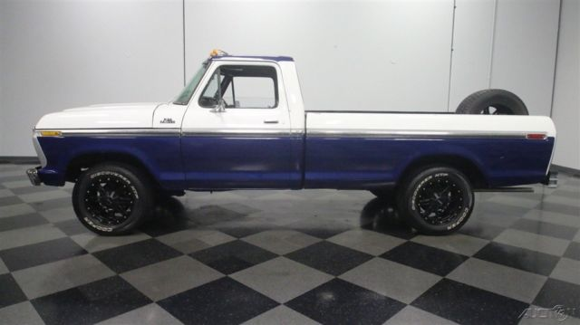 1977 Blue Ford F-100 with Black interior